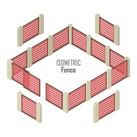 Wooden red fence with gate and pillars from four sides vector illustration in isometric projection isolated on white background. For gaming environment, architecture element, app, web design. Wooden Fence Vector In Isometric Projection. Wooden Fence Vecto