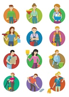 Cleaning Service Icon Set. Cleaning service round icon set. Man and woman with cleaning equipment and detergent. Cleaning staff characters. House cleaning service, professional office cleaning, home cleaning illustration.