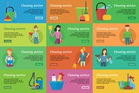 Set of Cleaning Service Banners. Set of cleaning service banners. Man and woman with cleaning equipment and detergent. House cleaning service, professional office cleaning, home cleaning illustration. Horizontal website template