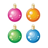 Set of New Year Toys Christmas Ornament Decoration. Set of Christmas toys. Christmas ornament decoration made of glass, metal, wood, ceramics used to festoon Christmas tree. Flat design. New Year celebrating. Winter holidays symbol. On white background