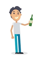 Man with Bottle of Wine Isolated on White. Vector. Man with a bottle of wine isolated on white. Young man toast the success. Drunk boy with alcohol. Alcohol addicted person with a bottle of beer. Alcoholism. Vector illustration in the flat style.