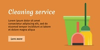 Cleaning Service Banner. Brown cleaning service banner with green bucket, broom green and red scoop. House cleaning service, professional office cleaning, home cleaning, domestic cleaning service. Website template