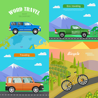 Transport. Collection of Four Auto Illustrations. Transport. Collection of Four Auto Pictures. Blue car on planet. Green pickup on road near mountains. Orange big automobile on road to hills. Sports bike riding up path. Simple cartoon style. Vector