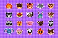 Animal Carnival. Collection of Cartoon Masks.. Animal carnival set of animal masks in cartoon style. Colourful decorations on background. Vector illustration of masques for festivals and children holidays. Dress code for kids in flat style design