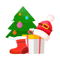 Christmas tree decorated near red xmas sock, white present box with yellow lid and red Santa Claus cap on it in flat design. Vector illustration of New Year festive elements in cartoon design on white. Christmas Tree near Present Box and Santa Cap
