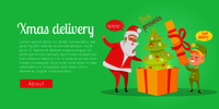 Xmas and fast delivery of best presents. Vector illustration of Santa Claus and gnome packing decorated Christmas tree in huge yellow box with red ribbon in cartoon style. Holiday web banner.. Xmas Delivery. Best Presents. Santa and Gnome