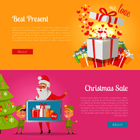 Colourful poster of pictures with best presents and Christmas sale. Vector illustrations of gift boxes and one open with hearts inside. Banner with santa Claus and elves holding gadget near spruce.. Poster of Best Presents with Love and Xmas Sale