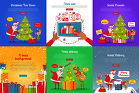Collection of christmas vector illustrations with Santa Claus and gnome decorating xmas tree and throwing presents in chimney. Colourful poster with online buying gifts and sending spruce in box.. Christmas Tree Decor. Xmas Sale. Santa Presents