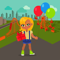 Young girl with balloons and present box in park with attractions. Little lady goes to party. Blonde toddler with colourful air balloon. Children every day activities. Vector in flat style design. Young Girl with Balloons and Present Box in Park
