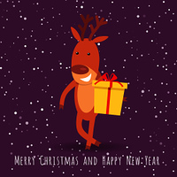Merry Christmas and Happy New Year. Reindeer with gift box greeting. Smiling cartoon character in flat style design. Cute deer posing on background of abstract snowy landscape, night star sky. Vector. Reindeer with Gift Box Greeting. Cartoon Character