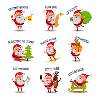 Santa Claus. Collection of posters. Xmas morning. List of gifts. Gift delivery. The christmas tree decorate. To arrive in time. To get presents. Christmas carols. Festive selfie. Happy holiday. Vector. Santa Claus Routine. Collection of Illustrations