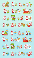 Santa and his helpers big set. Santa Claus, reindeer, snow maiden, ice princess, elf. Father Christmas daily activities stickers. Winter fun with Santa and his friends. Cartoon characters. Vector. Santa, Reindeer, Snow Maiden, Ice Princess Elf Set