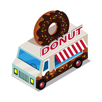 Donut trolley in isometric projection style design icon. Street fast food concept. Food truck with umbrella illustration. Isolated on white background. Doughnut mobile shop. Vector illustration. Donut Trolley in Isometric Projection. Doughnut