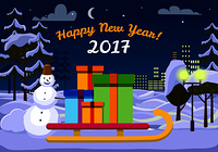 Happy New Year 2017 Santa Claus sleigh with gift boxes outdoors. Snowman behind sledge near street lamp. Tees and urban buildings on background of snow on ground. Vector evening in cartoon style. Happy new Year 2017. Santa Sleigh with gift Boxes