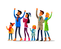 Family and friends in warm winter clothes celebrate New Year and look up. Joyful young man with raised hands, woman in Snow-maiden cap and children and adults together enjoy life vector illustration. Family and Friends Celebrate New Year Isolated