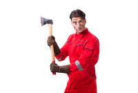 Contractor employee with axe on white background