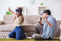 Pair singing karaoke with virtual reality glasses