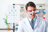 Eye doctor in eyecare concept in hospital