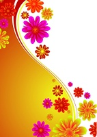 Illustrated floral background with colorful flowers on a orange gradient