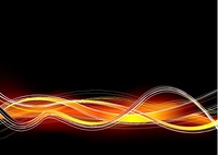 Orange and black abstract background with wave lines