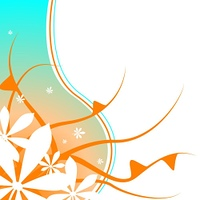 Abstract orange and blue background with a foliage and leaf design