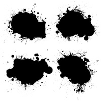 black and white ink splat icon with room to add your own text