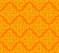 Floral abstract seamless background design in orange and yellow