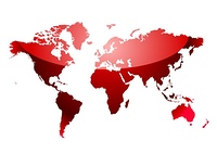 shades of red abstract world map with light reflection