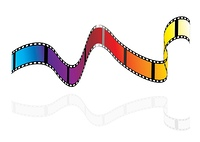 Brightly colours camera film strip with rainbow colours
