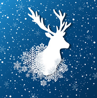 New year and Christmas background with paper silhouette of deer and snowflakes. Vector illustration.
