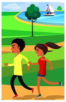 Boy and girl in sportswear jog at a park along a wide path surrounded by a green neat lawn near a pond with a white yacht vector illustration.. Boy and Girl Jog at Park along Path Near Pond