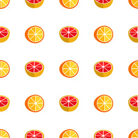 Seamless pattern with oranges and grapefruits isolated on white background. Exotic tropic citrus fruits vector illustration endless texture. Seamless Pattern with Oranges and Grapefruits
