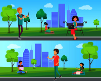 People spend time in city park with modern computer technologies, walk outdoors in free wi-fi zone vector illustration on background of skyscrapers. People Spend Time in City Park with Computer