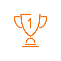 Prize schematic icon making part of infographic, image of cup for winner of competition vector illustration isolated on white background. Prize Schematic Icon Vector Illustration Orange
