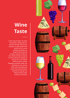 Wine taste description with grapes and bottles, glasses with drink, wooden barrels. Vector illustration with alcoholic beverage review on pink background. Wine Taste Visualization Vector Illustration Text