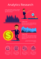 Analytics research with man attracting investments and business person with cash icon. Background of vector illustration with data interpretation is pink. Analytics Research Data Vector Illustration