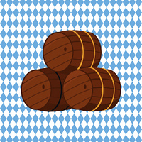 Wooden barrels with beer vector illustration isolated on checkered background. Three casks or tuns hollow cylindrical container, made of wooden staves. Wooden Barrels with Beer Vector Illustration