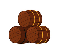 Wooden barrels with beer vector illustration isolated on white. Three casks or tuns hollow cylindrical container, made of wooden staves bound by metal hoops. Wooden Barrels with Beer Vector Illustration