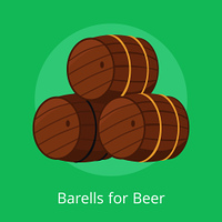 Barrels for beer vector illustration isolated on green. Three casks or tuns hollow cylindrical container, made of wooden staves bound by metal hoops. Barrels for Beer Vector Illustration Isolated