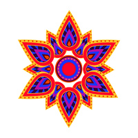 Spiritual and ritual symbol in hinduism which is mandala, representing universe, icon depicted on vector illustration isolated on white. Spiritual Symbol Mandala on Vector Illustration