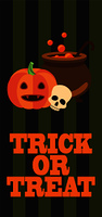 Trick or treat sign on Halloween promotional poster with pumpkin and skull, pot with bubbles and potion, vector illustration on striped background. Halloween Pumpkin Cast-Iron Vat of Potion Poster