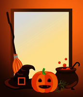 Halloween empty photo frame with old witch hat and broomstick, ripe pumpkin and vat full of potion with bubbles vector illustration.. Halloween Photo Frame with Traditional Symbols