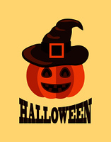 Halloween poster with text sample and title, image of pumpkin with hat on it, represented on vector illustration, jack-o-lantern in flat style. Halloween Poster with Pumpkin in Witch Hat Vector