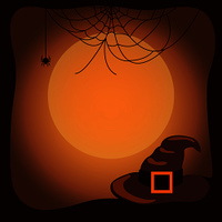 Halloween background with old witch hat with big belt, huge spider web and moon silhouette vector illustration inside frame with uneven edges.. Halloween Background with Witch Hat and Spider Web