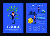 Business and analytic research, man tossing up money and businessman fishing money and standing by big coin, charts and text vector illustration. Business and Analytic Research Vector Illustration