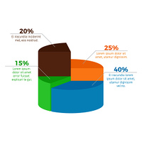 Infographic with percentage and additional information placed by each sector, visual means of presenting info on vector illustration. Infographic with Percentage on Vector Illustration