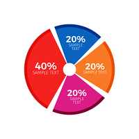 Circle diagram infographics chart with three equal parts and one consisting of forty percent from general amount vector illustration isolated on white. Circle Diagram Infographics Chart with Equal Parts