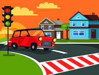 Pedestrian crossing with traffic lights sign on road at rural countryside and retro car before crosswalk vector. Home buildings on background of sunset. Pedestrian Crossing with Traffic Lights on Road
