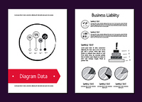 Diagram data and business liability posters depicting charts and diagrams with percentage, additional information and icons vector illustration. Diagram Data and Business Liability Vector Illustration