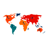 World map with colorful statistical data about population and percentage isolated cartoon flat vector illustration on white background.. World Map with Statistical Data about Population
